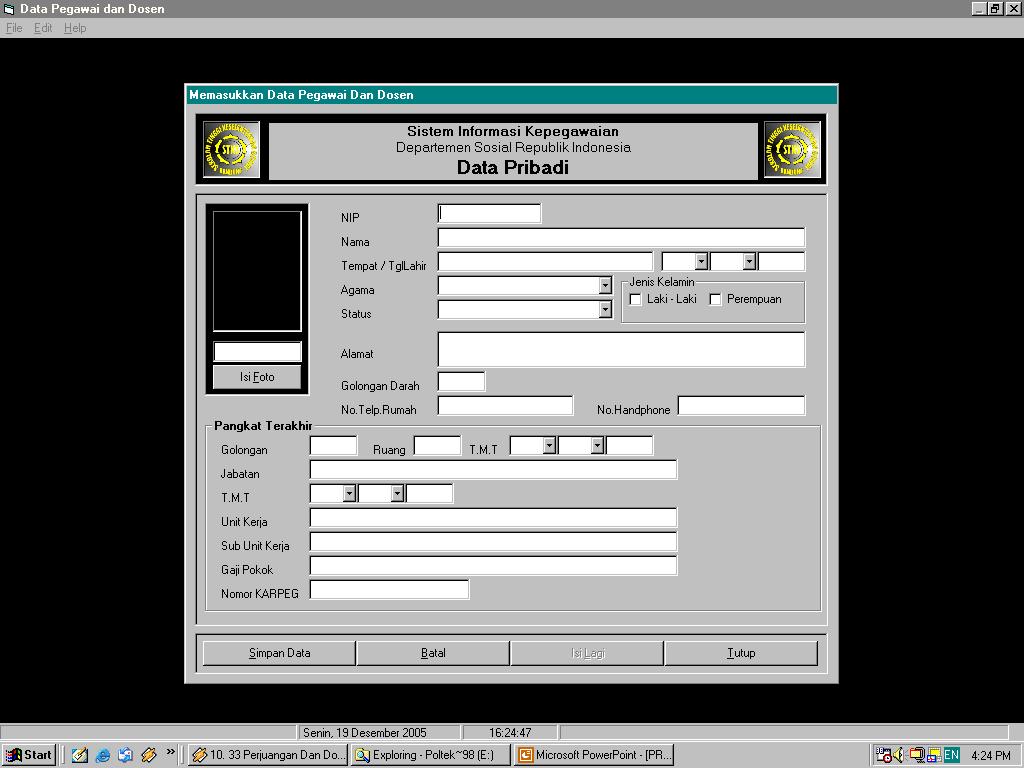 Tampilan Sistem Informasi Kepegawaian Kampus