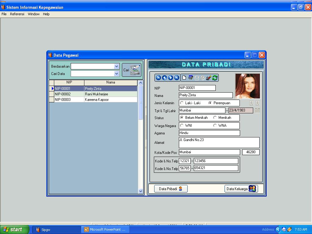 Tampilan Sistem Informasi Kepegawaian